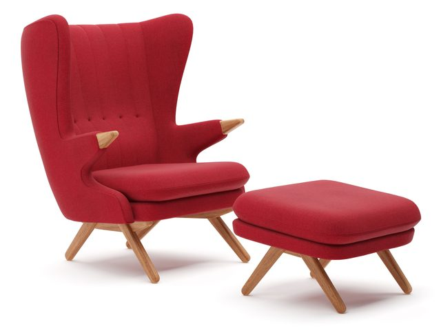 Skipper Papa Bear (Bamse) Chair and Footstool red