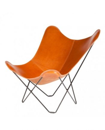 CUERO Butterfly Chair - Leather colour POLO - Black frame