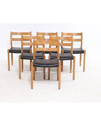Niels Møller Model 84 Oak Dining Chair - black leather