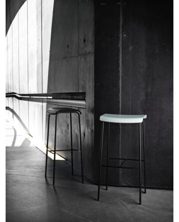 Pause Bar Stool by Magnus Olesen in white shell and black upholstered
