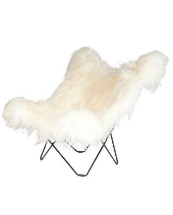 CUERO Iceland Butterfly Chair - Wild White Sheepskin - Black frame