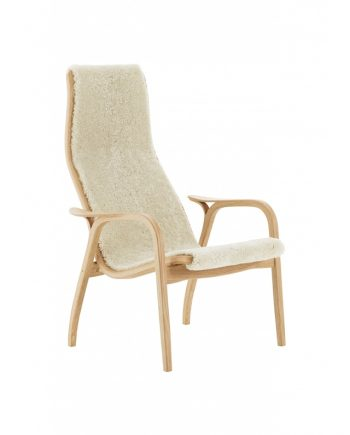 Swedese Lamino high back easychair in Oak with Moonlight sheepskin