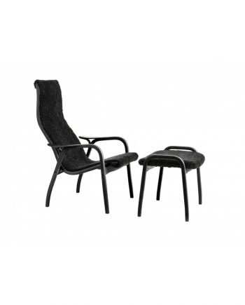 Swedese Lamino Chair and Footstool in Black with Black Sheepskin