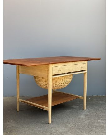 Vintage Sewing Table   Teak and Oak   Hans Wegner   Leaves Extended