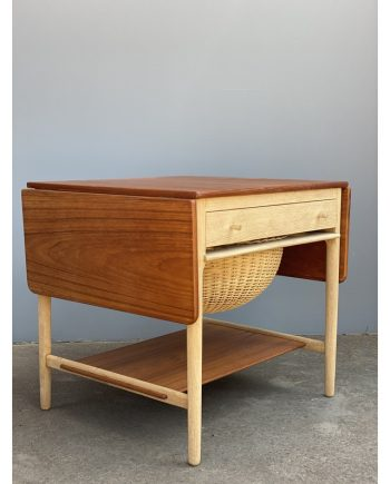 Vintage Sewing Table   Teak and Oak   Hans Wegner   Leaves Folded